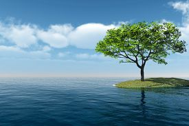 Alone Tree at sea beach - 3D rendering.