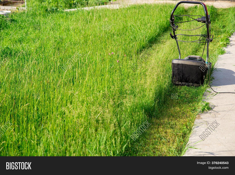 Electric Lawnmower Image Photo Free Trial Bigstock