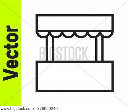 Black Line Ticket Box Office Icon Isolated On White Background. Ticket Booth For The Sale Of Tickets