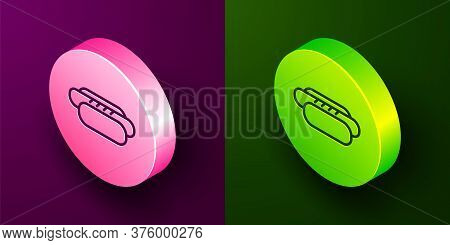 Isometric Line Hotdog Sandwich Icon Isolated On Purple And Green Background. Sausage Icon. Street Fa