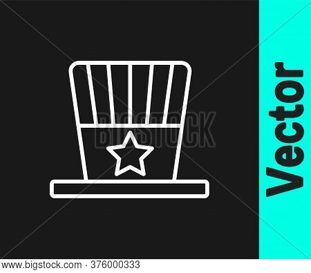 White Line Patriotic American Top Hat Icon Isolated On Black Background. Uncle Sam Hat. American Hat