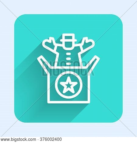 White Line Jack In The Box Toy Icon Isolated With Long Shadow. Jester Out Of The Box. Green Square B