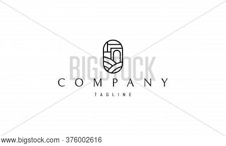 Vector Logo On Which An Abstract Image Of Hills And A Building With An Arch In The Shape Of An Oval.