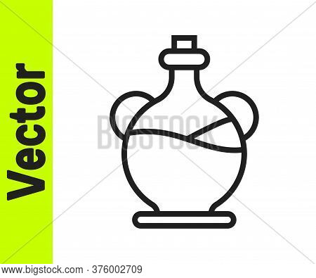 Black Line Bottle Of Olive Oil Icon Isolated On White Background. Jug With Olive Oil Icon. Vector