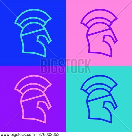Pop Art Line Greek Helmet Icon Isolated On Color Background. Antiques Helmet For Head Protection Sol