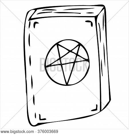 Witch Or Sorceress Spell Book, Vector Doodle Element For Halloween Celebration, Black Outline