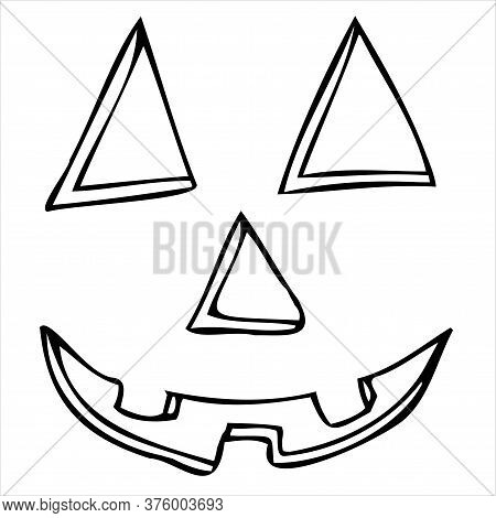 Carved Eyes, Nose Mouth, Pumpkin Carving, Vector Doodle Element For Halloween Celebration In Doodle