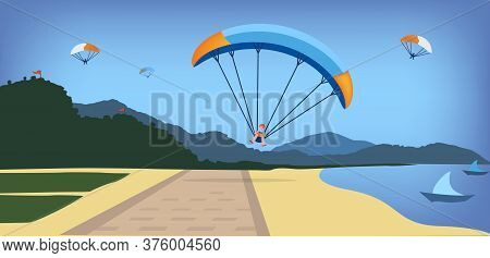 Illustration Of Paraglider On Paraglide Falling On Seaside Boulevard, Summer Landscape With Mountain