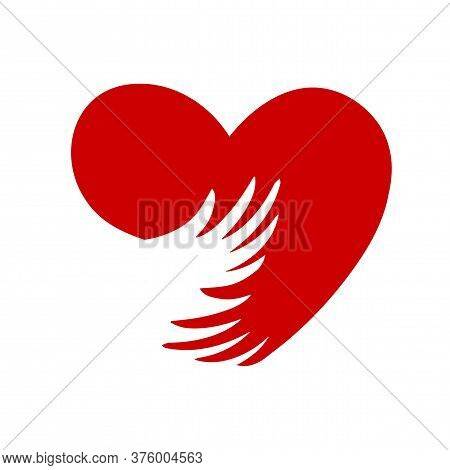 National Hugging Day. Arms Around The Heart. International Hug Day. Flat Style Sign For Mobile Conce