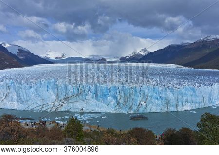 Blue Glacier View From Touristic Balcony, Patagonia, Argentina, South America