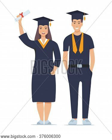 Couple Of Happy Smiling Graduates With Diplomas. Man And Woman Graduated From University. Vector Ill