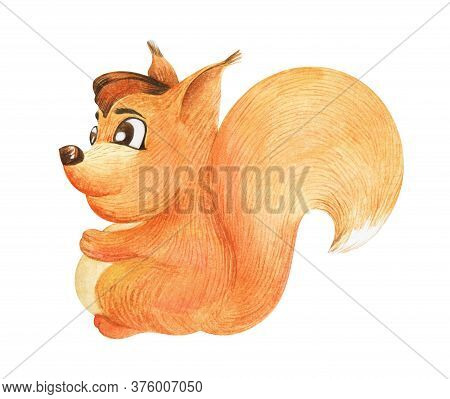 Watercolor Image Of Friendly Cartoon Squirrel Isolated On White Background. Hand Drawn Illustration