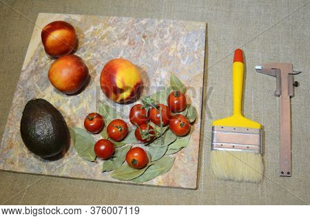 Design Elements - Fruits And Vegetables: Peaches Nectarine, Cherry Tomatoes On Laurel Leaves And Nea