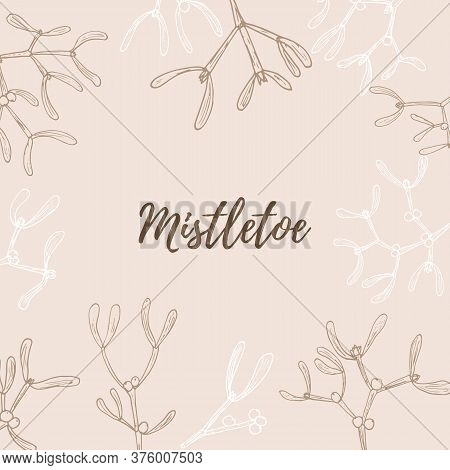 Vector Pattern With Hand Drawn Mistletoe Twigs And Berries On Pink Background