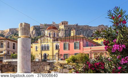 Old Houses In Athens, Famous Acropolis In Distance, Greece. Beautiful Scenic View Of Plaka District