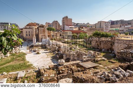 Cityscape Of Athens, Library Of Hadrian In Foreground, Greece. This Place Is Tourist Attraction Of A