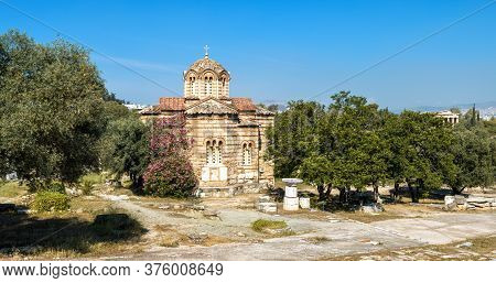Church Of Holy Apostles In Ancient Agora, Athens, Greece. Panoramic View Of Monument Of Byzantine Cu