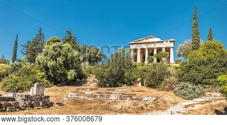 Landscape Of Ancient Agora With Old Temple Of Hephaestus, Athens, Greece. This Place Is Famous Touri