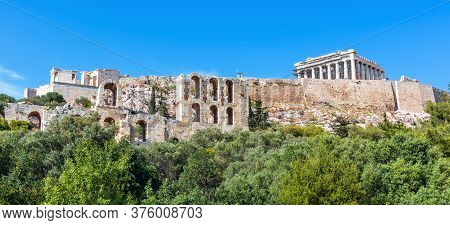 Panoramic Scenic View Of Acropolis Hill And Parthenon Temple, Athens, Greece. Famous Acropolis Is To