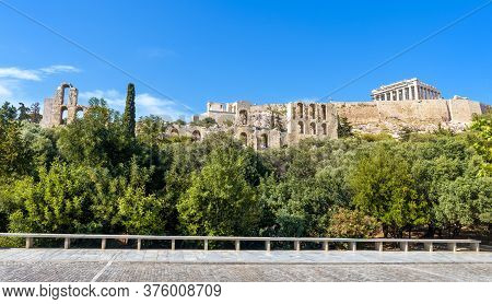 Acropolis With Old Parthenon Temple, Athens, Greece. This Place Is Top Landmark Of Athens. Panoramic