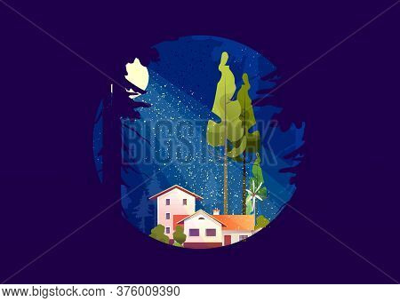 Wooden House In The Deep Forest, Foresters Hut, Vector Cartoon In A Round Shape, Mystical Moonlight,