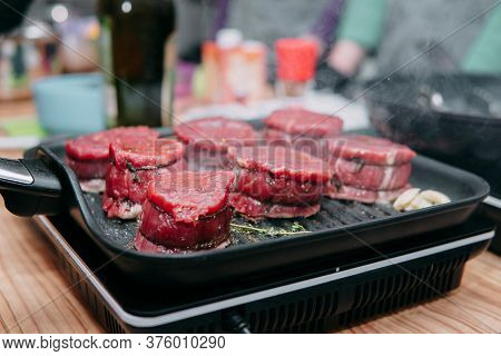Raw Beef Meat For Cooking Steak. Raw Beef Is Sliced, Cooking Meat For Cooking Steak In A Cooking Cla