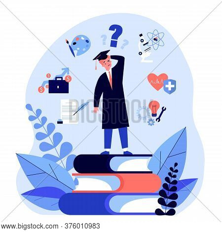 Puzzled Student Making Choice About His Future Career Path Flat Illustration. Young Guy Choosing Col