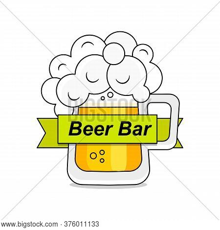 Original Vintage Retro Line Art Badge Logo Design Template For Beer House