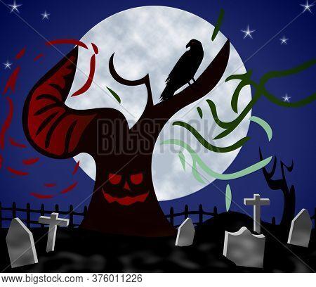 Haunted Graveyard at Night. Demon tree, raven, moon, stars and tombstones.