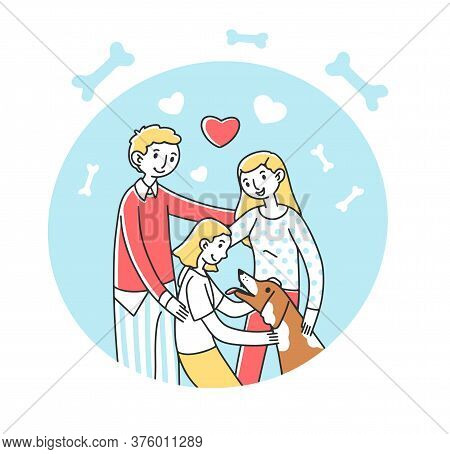 Happy Family Adopting Pet Flat Illustration. Parents And Child Greeting Dog. Abstract Image Of Peopl