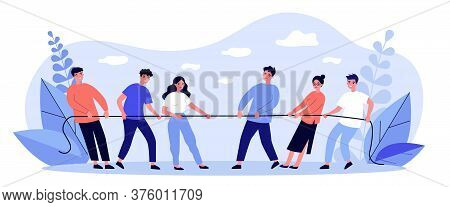 People Playing Game And Pulling Rope Flat Illustration. Office Contest For Two Teams Resisting Each