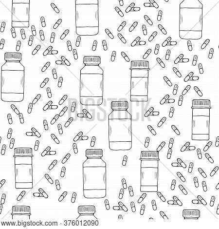 Medicine Vials, Bottles, Pills, Vitamin Capsule Sketch Seamless Pattern. For Vitamin And Dietary Sup