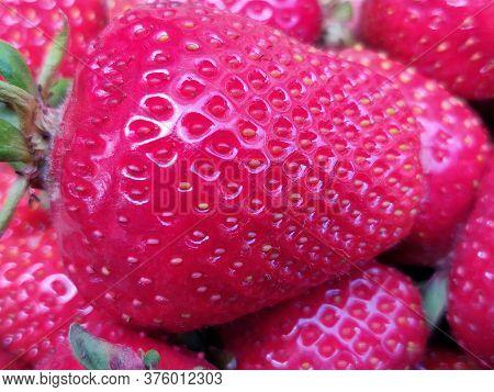 Close Up Of Fresh Ripe Delicious Strawberry