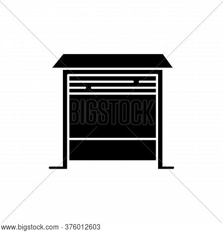 Garage Black Glyph Icon. Place For Car. Zone With Automatic Door For Automobile. Structure Exterior