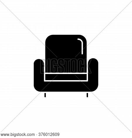 Armchair Black Glyph Icon. Comfortable Chair For House Interior. Living Room Furniture. Apartment Am