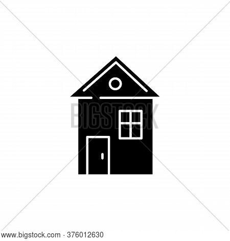 House Black Glyph Icon. Suburban Building. Home For Living. Downtown Dwelling. Cottage Rental. Inves