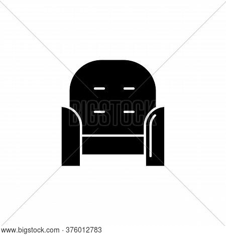Armchair Front Black Glyph Icon. Cozy Chair For Home Interior. Living Room Furniture. Apartment Amen