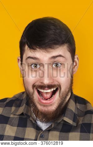 Funny Comic Man Smiling On A Yellow Background