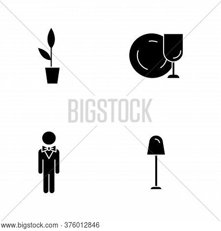 Restaurant Black Glyph Icons Set On White Space. Potted Plant For Cafe Decoration. Clean Tableware T