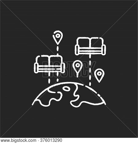 Couchsurfing Chalk White Icon On Black Background. Budget Tourism. Finding Affordable Accommodation