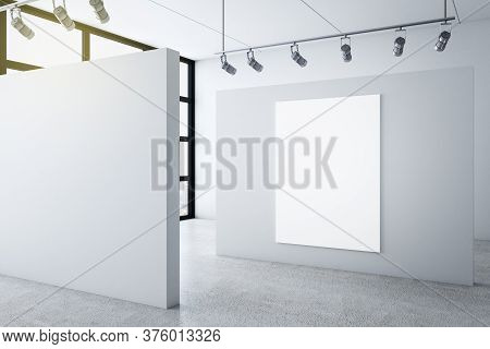 Gallery Interior With Poster On Wall And City View. Museum And Art Concept. Mock Up, 3d Rendering