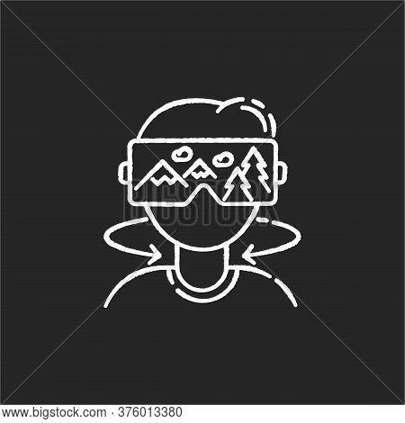 Virtual Tourism Chalk White Icon On Black Background. Modern Vacation, Interactive Digital Tour Simu