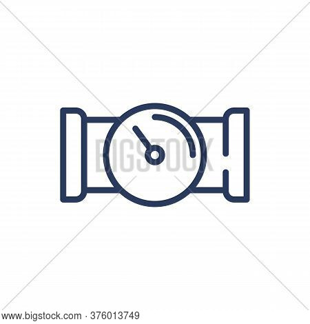 Meter On Water Tube Thin Line Icon. Arrow, Supply, Liquid Isolated Outline Sign. Plumbing And Equipm