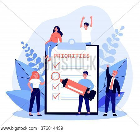 Happy Young People Making Important Notes And Choice Flat Illustration. Cartoon Characters Doing Age