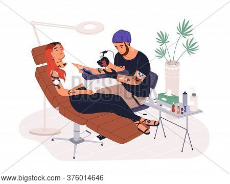 Hipster Guy Tattoo Master At Work Vector Illustration. Professional Tattooer Working With Female Cli