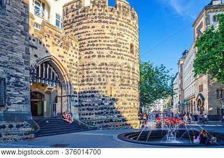 Bonn, Germany, August 23, 2019: Sterntor Or Star Gate Medieval Stone Fortification Building In Histo