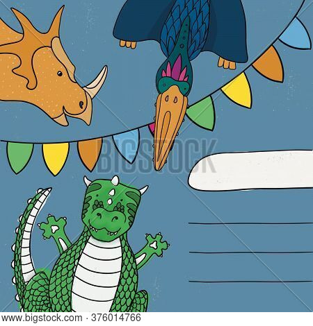 Happy Birthday Card Or Invitation With Dinosaurs. Funny Pterodactyl, Tyrannosaurus And Triceratops.