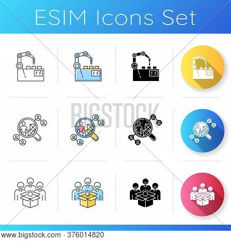 Production Process Icons Set. Linear, Black And Rgb Color Styles. Manufacturing Automation, Distribu