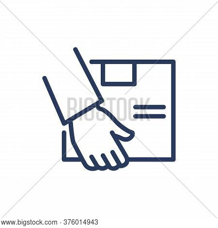 Box In Courier Hands Thin Line Icon. Carriage, Commerce, Shipment Isolated Outline Sign. Delivery Se