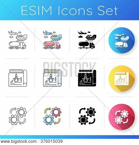 Manufacturing Stages Icons Set. Linear, Black And Rgb Color Styles. Commercial Shipping, Product Dra